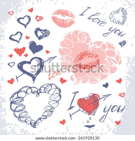 Valentine set with hearts. Love Hand Drawn elements. sketch style. Raster version - stock photo
