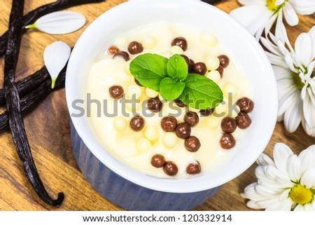 Vanilla yogurt with vanilla beans and  flowers - stock photo