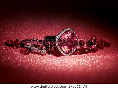 Various Jewelry gem stones on a background  - stock photo