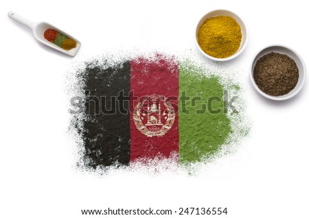 Various spices forming the flag of Afghanistan.(series) - stock photo