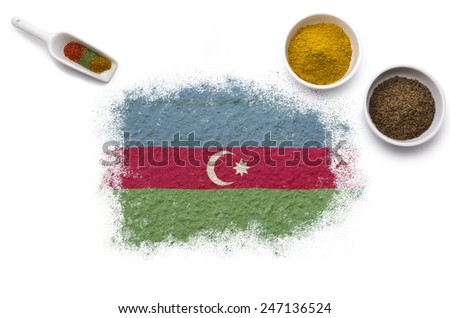 Various spices forming the flag of Azerbaijan.(series) - stock photo
