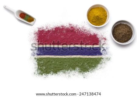 Various spices forming the flag of Gambia.(series) - stock photo
