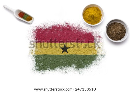 Various spices forming the flag of Ghana.(series) - stock photo