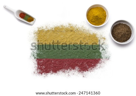 Various spices forming the flag of Lithuania.(series) - stock photo