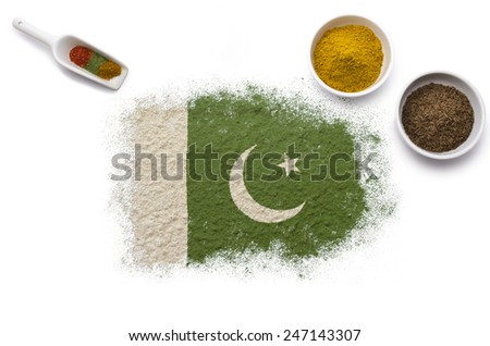 Various spices forming the flag of Pakistan.(series)