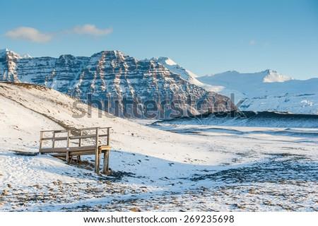 Vatnajokull National Park in morning. - stock photo