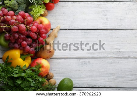 vegetables and fruits on white boards, food top - stock photo