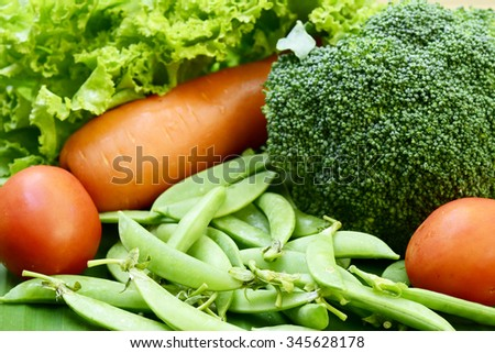 Vegetables . Fresh  Vegetable on the wooden table