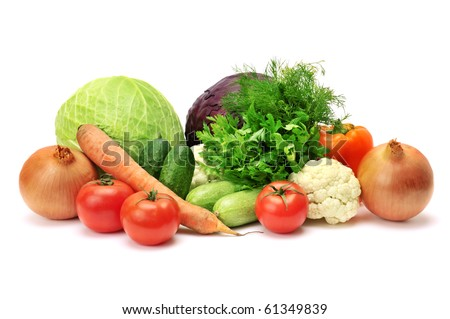 vegetables isolated on a white - stock photo