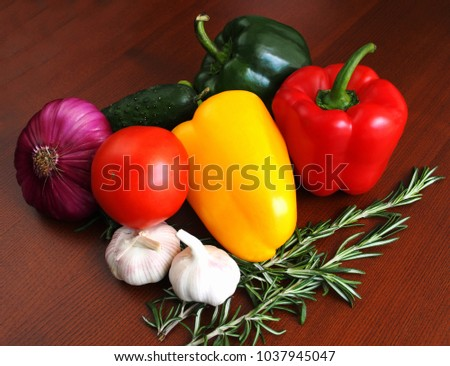 Vegetables with a sprig of rosemary