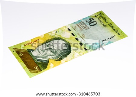 50 Venezuelan bolivares bank note. Bolivares fuertes is national currency of Brasil