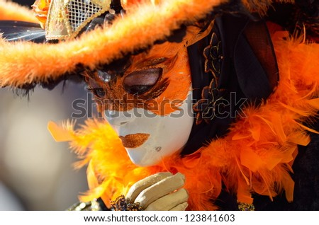VENICE - MARCH 5: An unidentified person in a Venetian costume attends the Carnival of Venice, festival starting on March 5, 2011 in Venice, Italy
