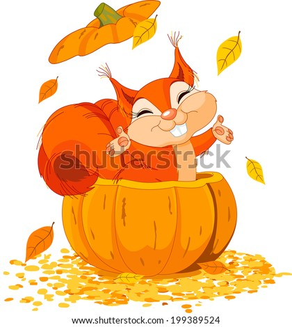 Very funny squirrel jumps out of a pumpkin. Raster version.   - stock photo