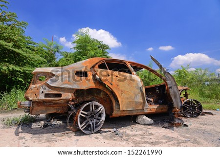 very old car with many rust - stock photo