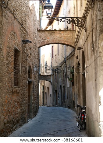 'Via della torre' in the old town of Pistoia, Tuscany, Italy - stock photo