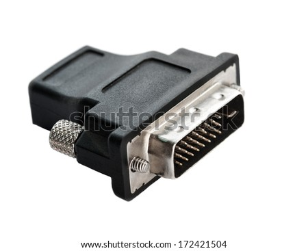 Video adapter on a white background. Selective focus with shallow depth of field. - stock photo