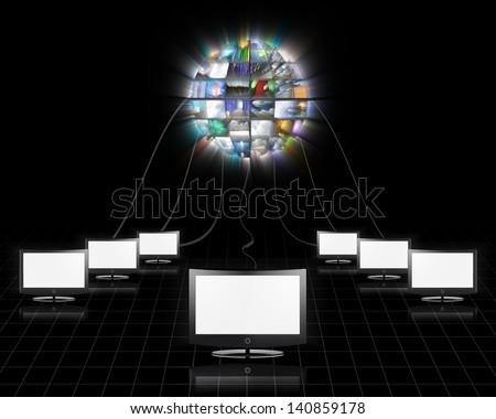 Video sphere - stock photo