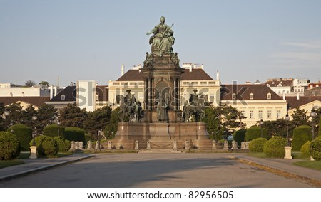 Vienna - queen Maria Theresia landmark and square in morning light
