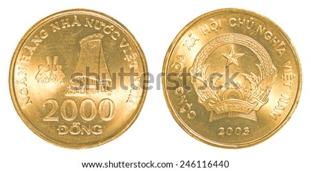 2000 vietnamese dong coin isolated on white background - set - stock photo