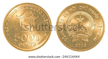5000 vietnamese dong coin isolated on white background - set - stock photo