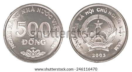 500 vietnamese dong coin isolated on white background - set - stock photo