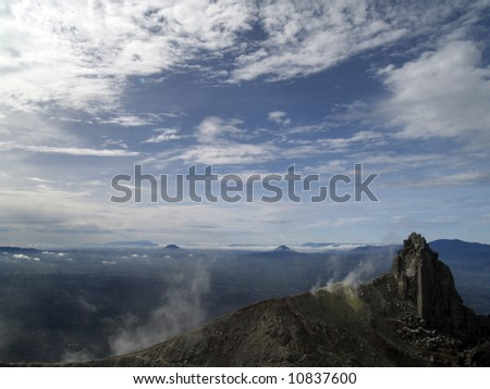 View at the  top of Mount Sinabung North Sumatera in Sumatra Island of Indonesia