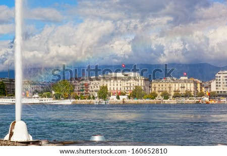 view of city of Geneva, the Leman Lake and the Water Jet, in Switzerland, Europe - stock photo