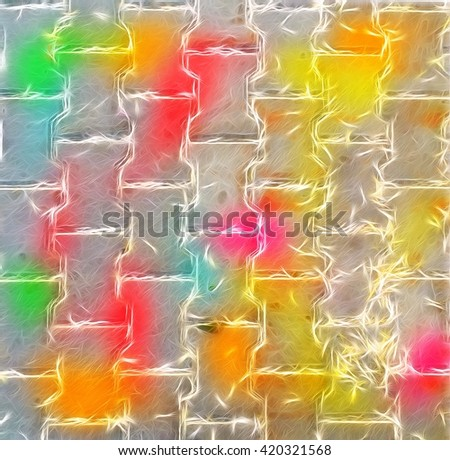 View of colorful Brick Stone Street Road. Sidewalk, Pavement Texture Background. Background design for print houses. - stock photo