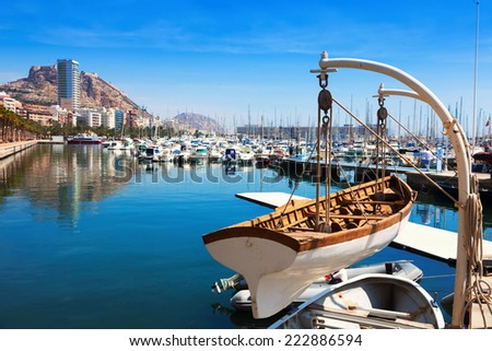 View of harbour with yachts in Alicante  - stock photo