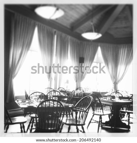 View of inside a restaurant - black and white - With Instagram effect