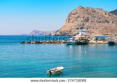 View of Kolymbia bay. Rhodes, Dodecanese, Greece, Europe - stock photo