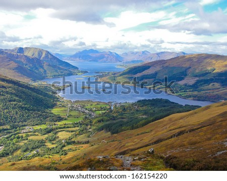 View of Loch Leven from the Pap of Glencoe - stock photo