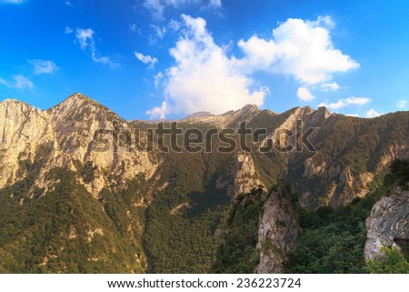 View of mountains above lake Como, Corni di Canzo, italy - stock photo
