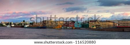 view of Neva river in morning. Saint Petersburg, Russia - stock photo