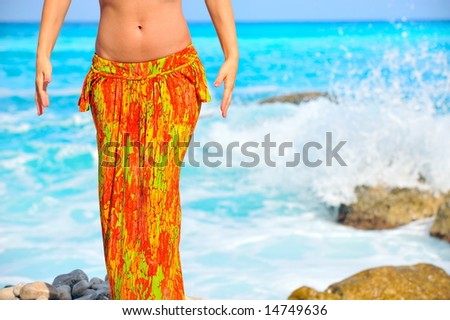 view of nice womanâ??s belly in summer environment