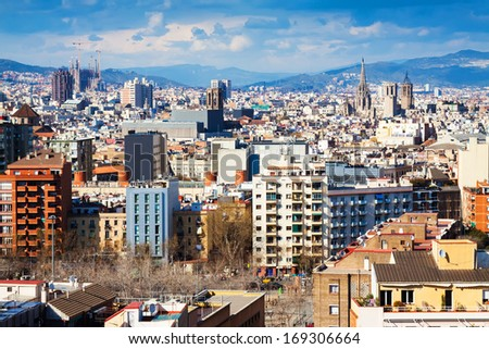 view of picturesque metropolitan area from Montjuic hill. Barcelona, Spain - stock photo