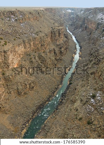 view of  rio grande river from rio grande gorge bridge, near taos,  new mexico   - stock photo