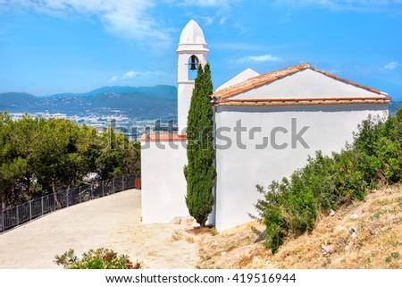 View of Sant Joan Castle in Blanes. Costa Brava, Spain    - stock photo