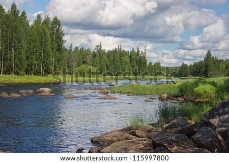 View of shallows on Suna river in Karelia, Russia - stock photo