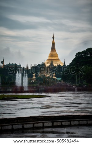 view of shwedagon pagoda from people park , Myanmar
