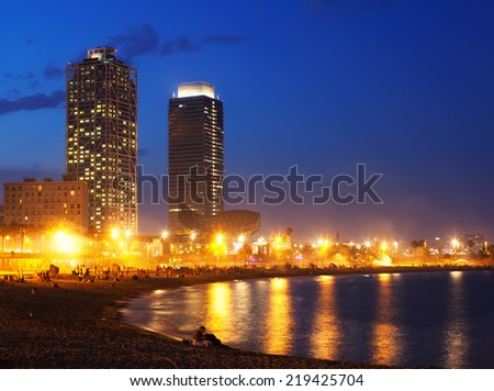 View of Somorrostro Beach in summer evening in Barcelona - stock photo