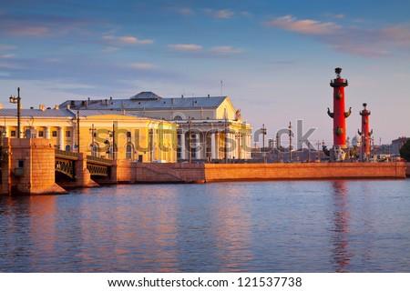 view of St. Petersburg. Vasilyevsky Island in summer day - stock photo