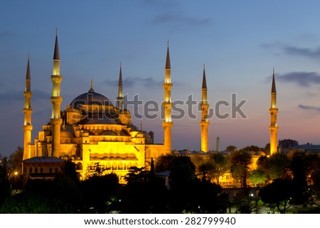 View of the Blue Mosque (Sultanahmet Camii) at dawn in Istanbul - stock photo