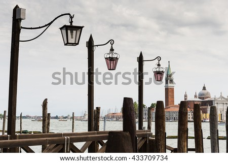 View of the Venetian Lagoon and the Church of San Giorgio Maggiore on island of the same name in Venice - stock photo