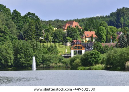 View over the artificial lake in Sohland Spree. - stock photo