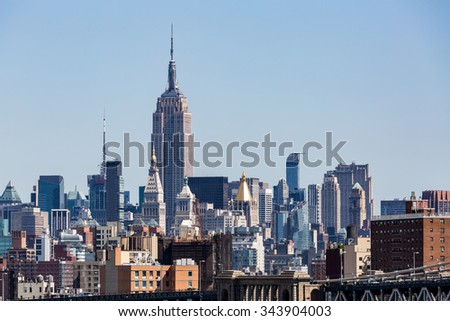 ?View to the Midtown Skyline of New York in summer 2015.