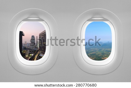 2 view window plane - stock photo