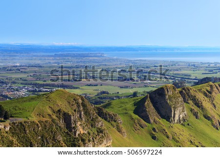 Views over Hawkes Bay high country from Te Mata Peak,  New Zealand