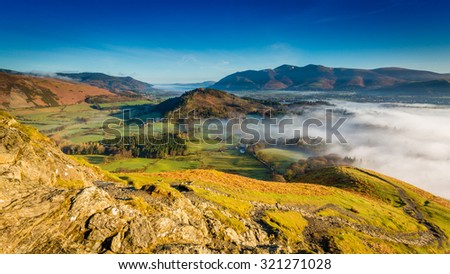 Views to Keswick, Skiddaw and Bassenthwaite Lake are seen straight over from Catbells, The Lake District, Cumbria, England - stock photo
