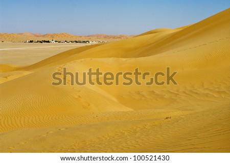 village in the desert, Oman - stock photo